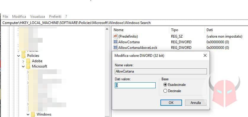 come disattivare Cortana su Windows 10 registro di sistema
