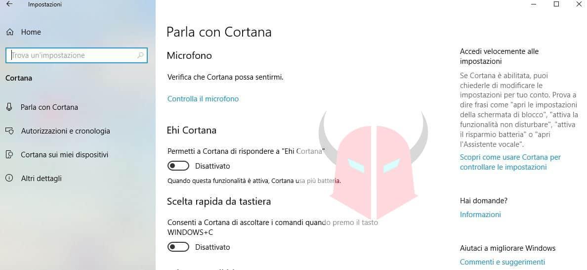 come disattivare il comando Ehi Cortana su Windows 10