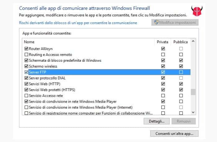 creare server FTP Windows 10 eccezione Firewall