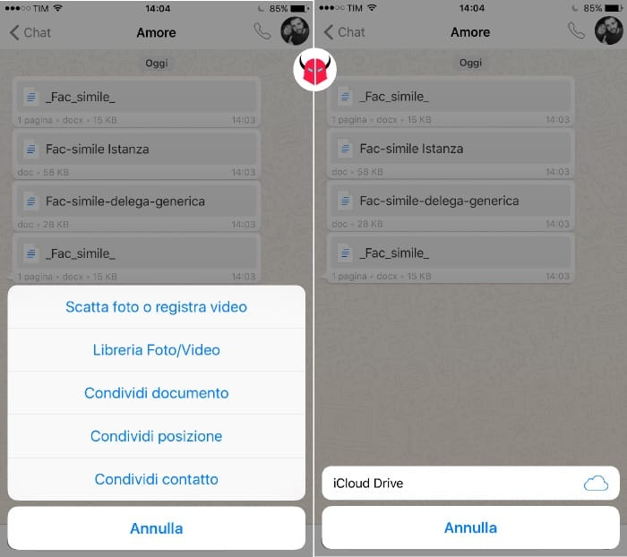 inviare file Word con WhatsApp su iPhone