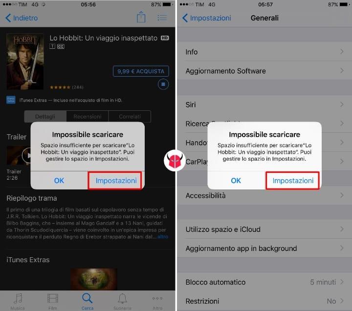 liberare memoria su iPhone noleggio film impossibile scaricare