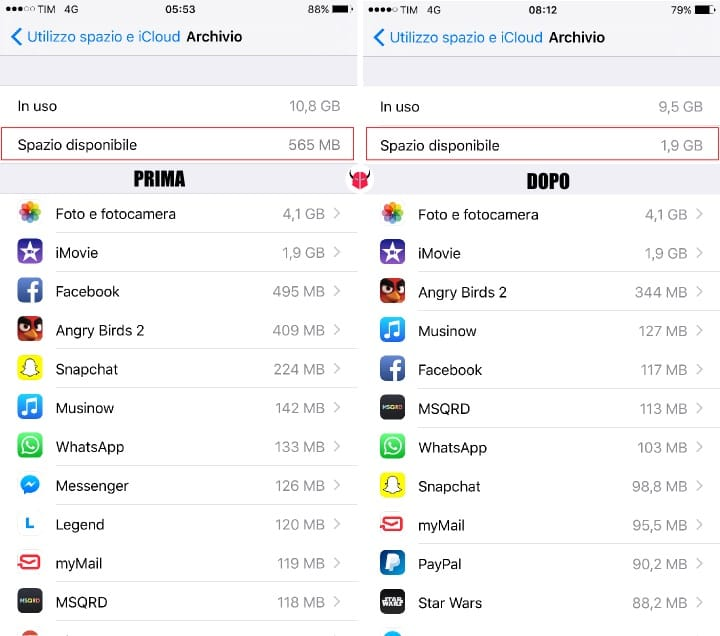 liberare memoria su iPhone spazio disponibile
