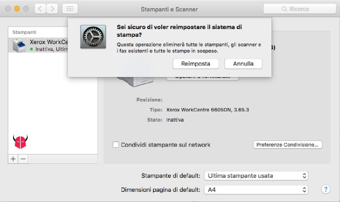 mettere stampante online opzione Reimposta Mac OS X