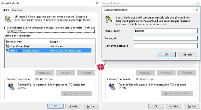 attivare login automatico Windows 10 memorizzazione password