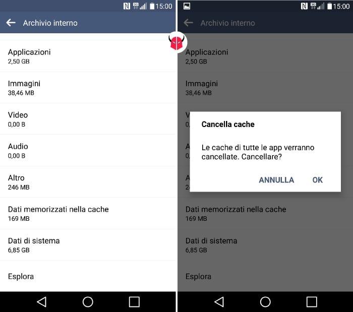 cancellare cache Android di tutte le applicazioni
