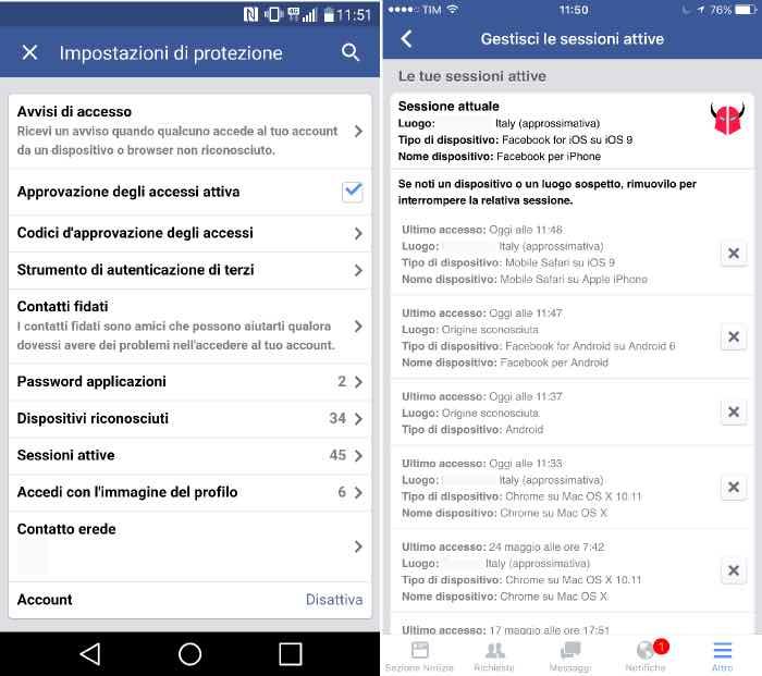 come controllare accessi Facebook con iPhone e Android