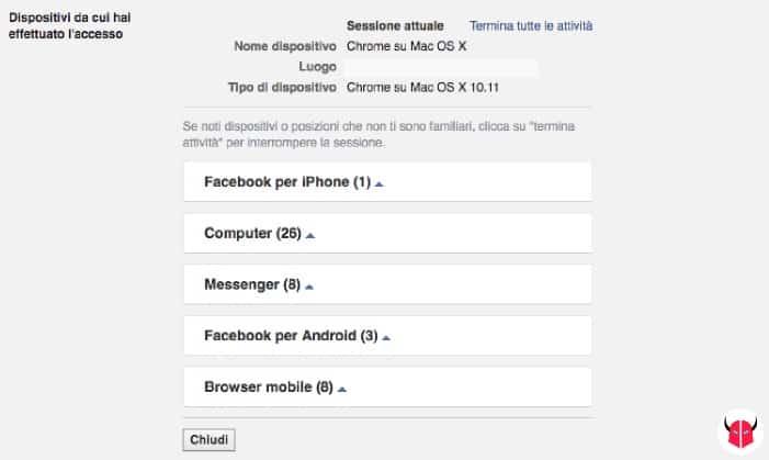 come controllare accessi Facebook da PC
