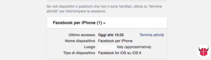 come controllare accessi Facebook sessioni PC
