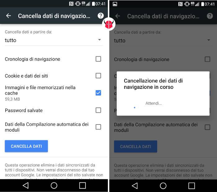 come pulire Android cancellazione cache Google Chrome