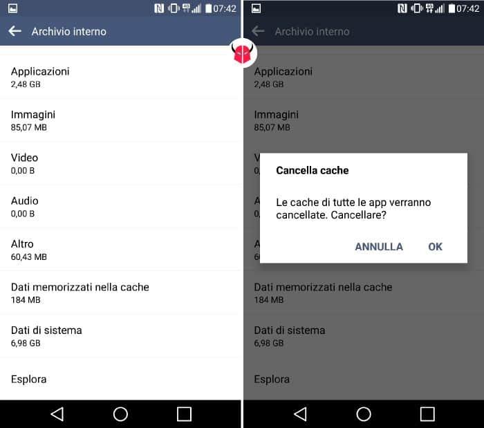 come pulire Android opzione Cancella cache