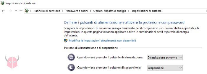 come rimuovere password Windows 10 sospensione