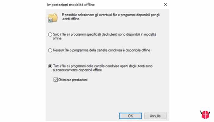 condividere cartella su Windows 10 cache