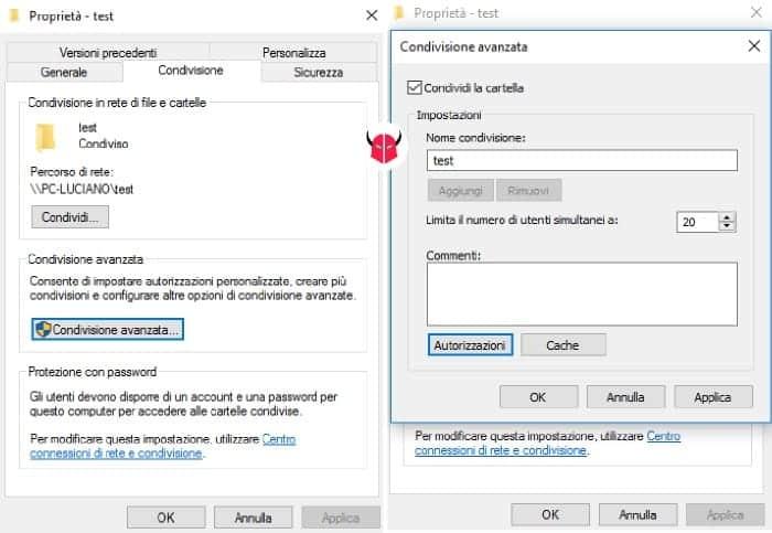 condividere cartella su Windows 10 condivisione avanzata