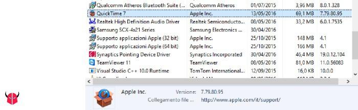 disinstallare QuickTime da Windows rimozione da Programmi e funzionalità