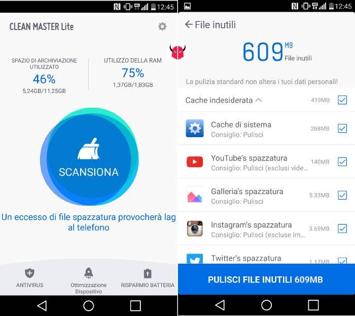 eliminare file inutili da Android Clean Master Lite