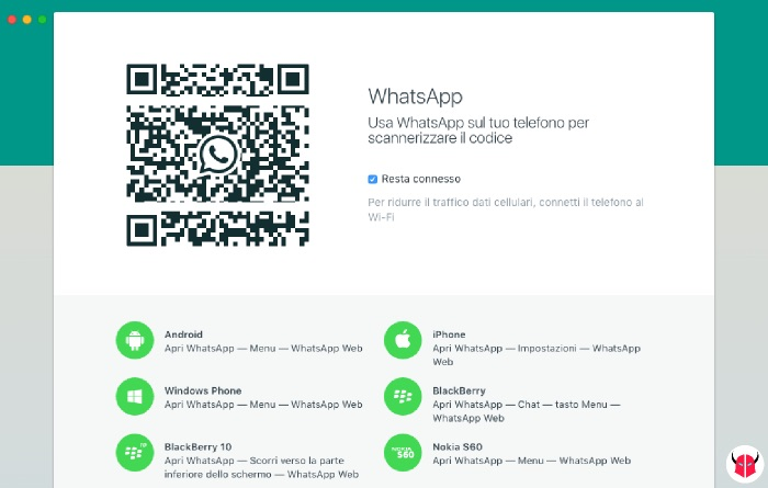 installare WhatsApp su Mac OS X accesso codice QR