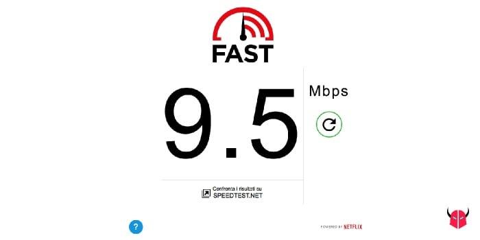 misurare la velocità di download con Fast di Netflix