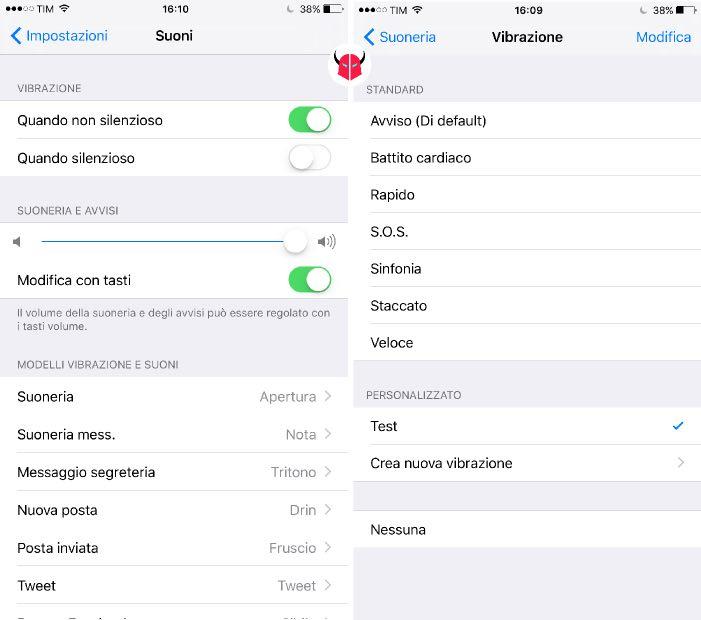 modificare vibrazione iPhone opzioni Suoneria