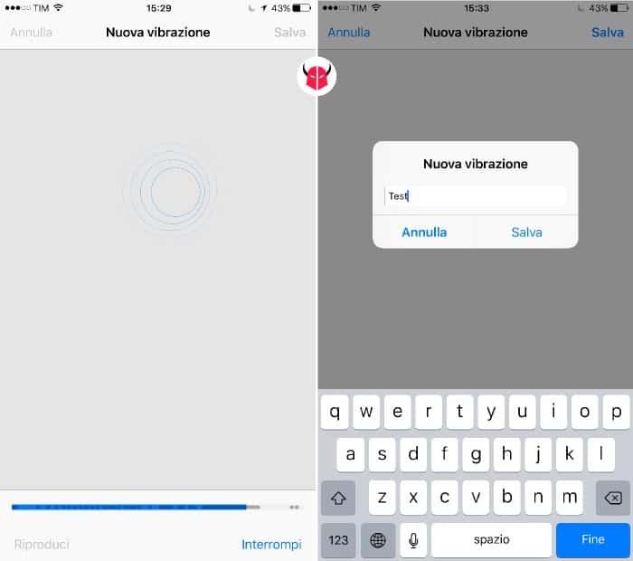 modificare vibrazione iPhone registrazione personalizzata