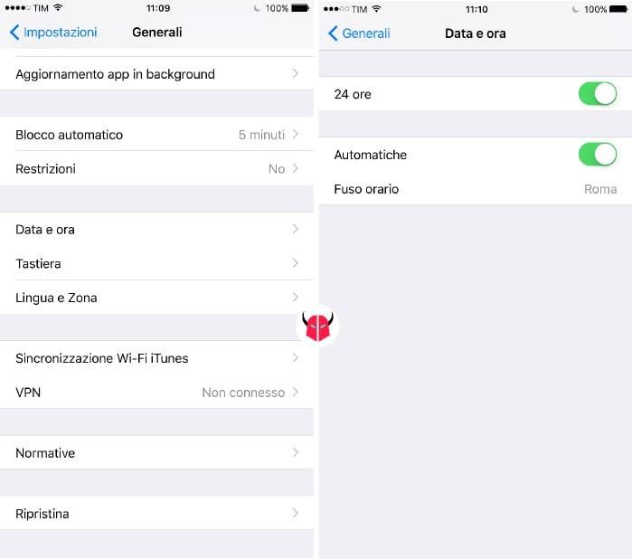 percentuale batteria iPhone impostazioni automatiche data e ora