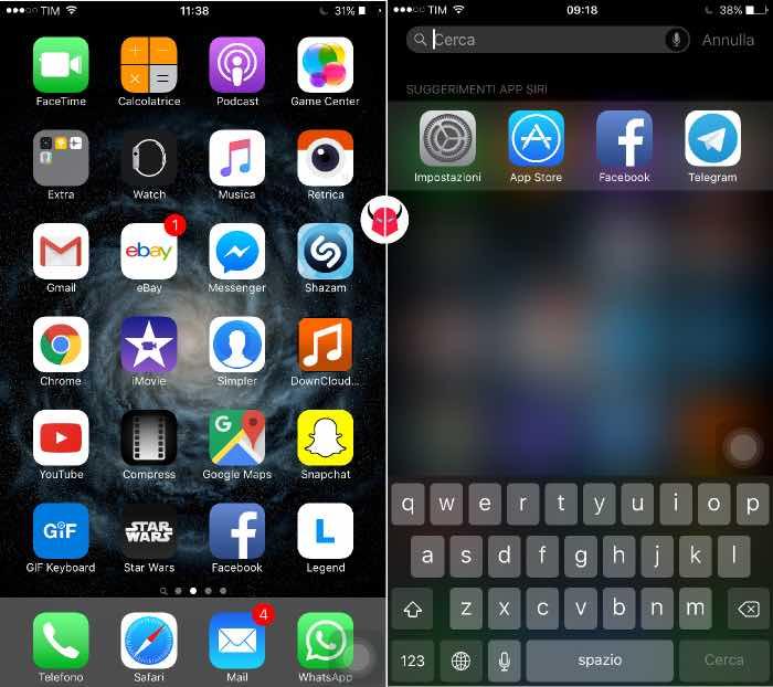 rimuovere animazioni iPhone con Assistive Touch e Spotlight