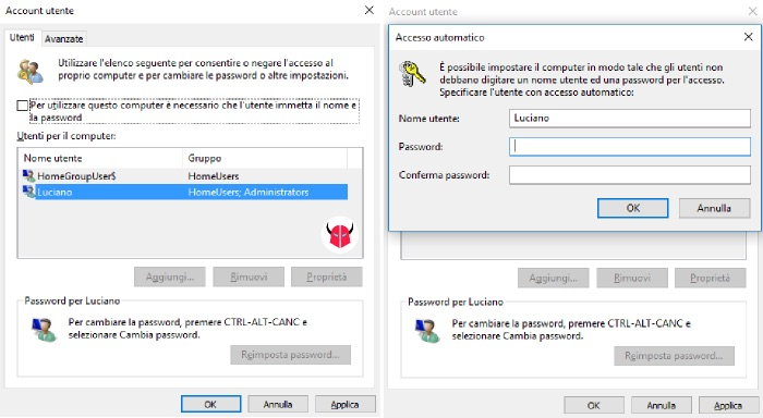 rimuovere password Windows 10 login automatico