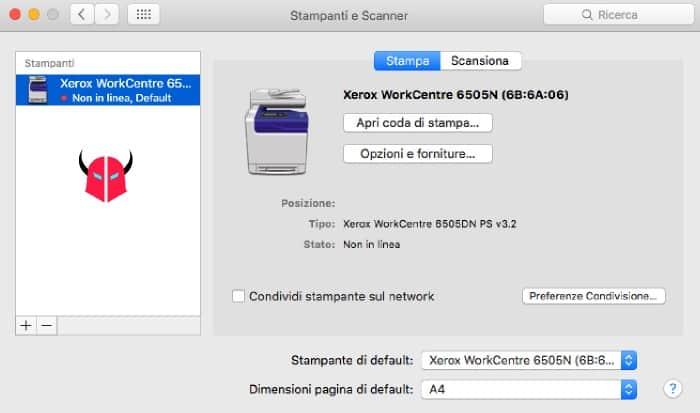 stampante non in linea Mac OS X offline tag rosso