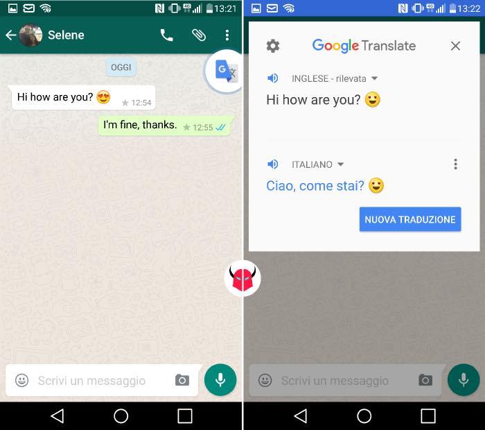 tradurre messaggi WhatsApp con Android e Google Traduttore