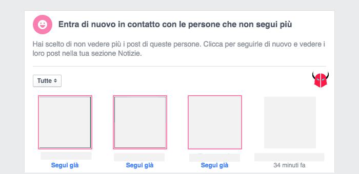 vedere notizie nascoste su Facebook persone che non segui più