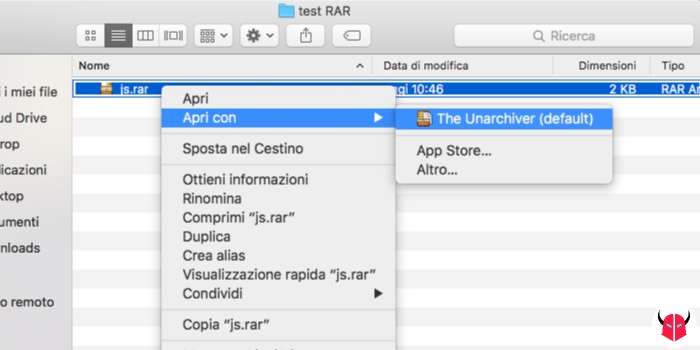 aprire file RAR Mac decompressione The Unarchiver