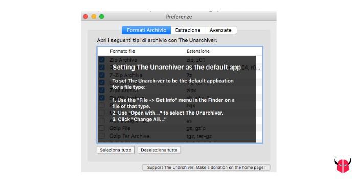 aprire file RAR Mac impostazioni The Unarchiver