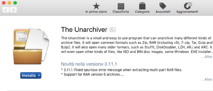 aprire file RAR Mac installazione The Unarchiver