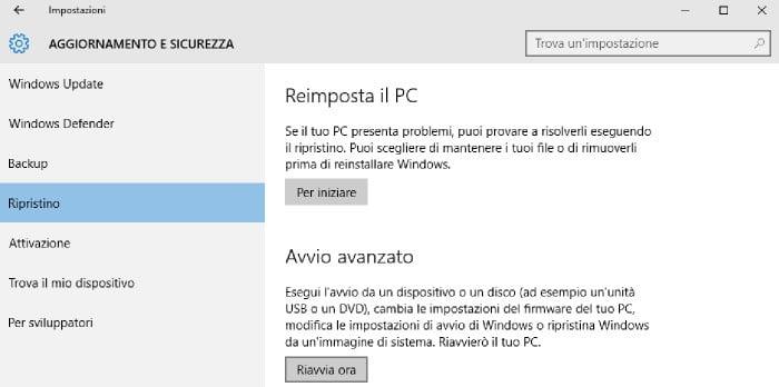 avviare Windows 10 in modalità provvisoria avvio avanzato