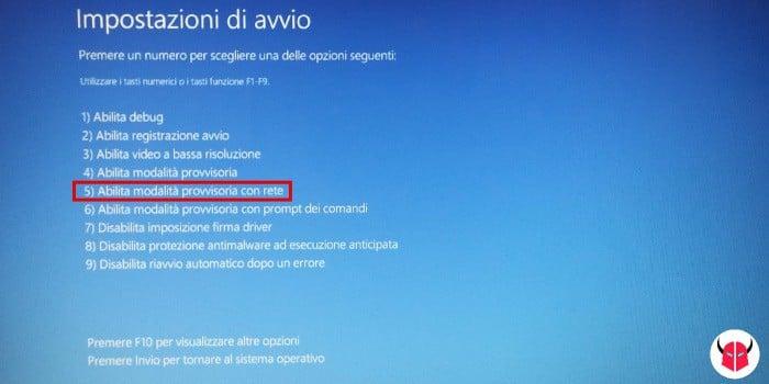 avviare Windows 10 in modalità provvisoria con rete internet