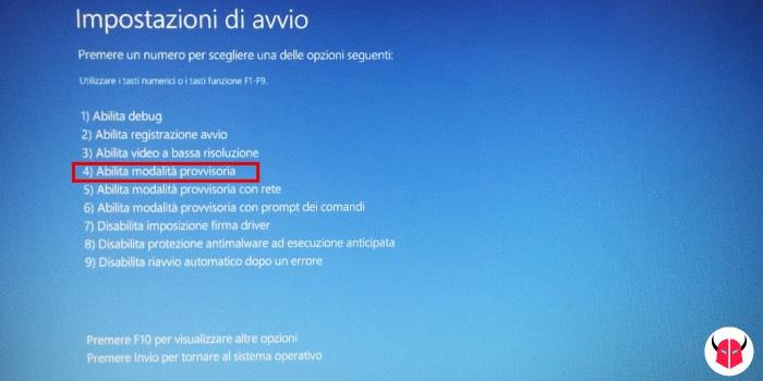 avviare Windows 10 in modalità provvisoria senza internet