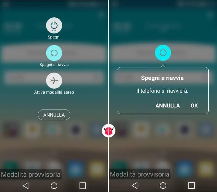 avviare modalità provvisoria Android opzioni spegnimento