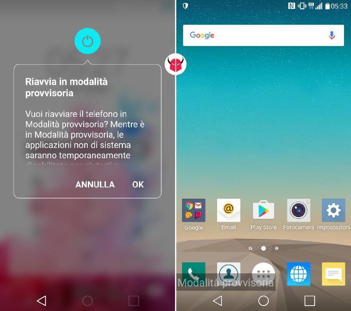 avviare modalità provvisoria Android riavvio in Safe Mode