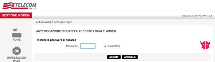 cambiare nome WiFi Telecom accesso modem
