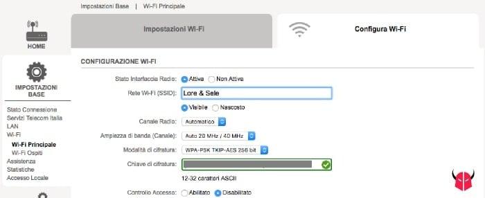 cambiare nome WiFi Telecom configurazione SSID