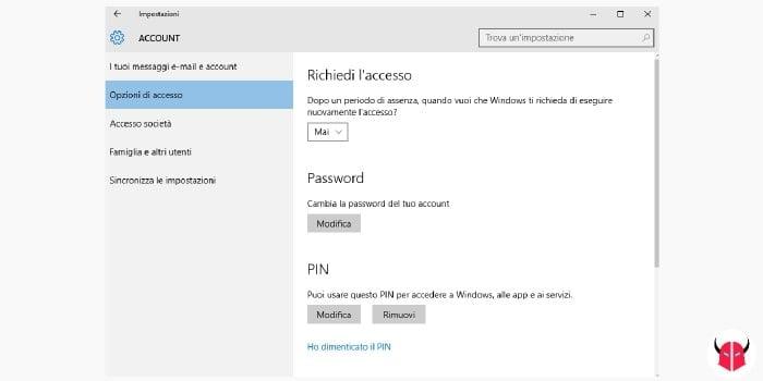 cambiare password Windows 10 opzioni di accesso