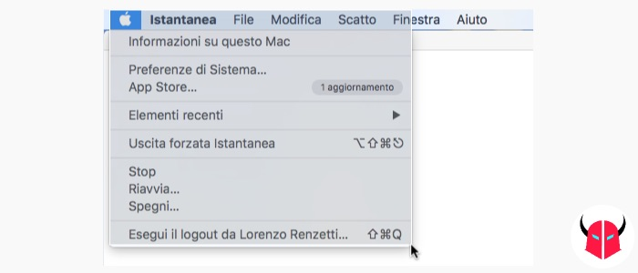 come fare screenshot Mac di un menu istantanea