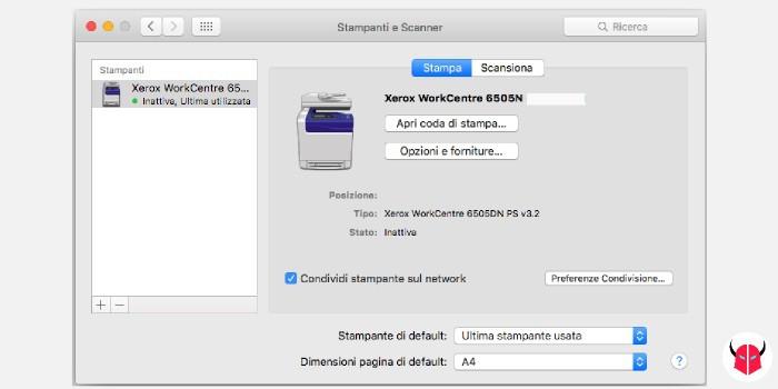condividere stampante con Mac flag condivisione