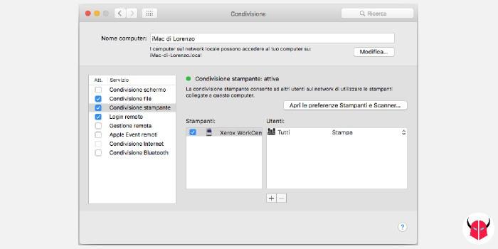 condividere stampante con Mac preferenze condivisione