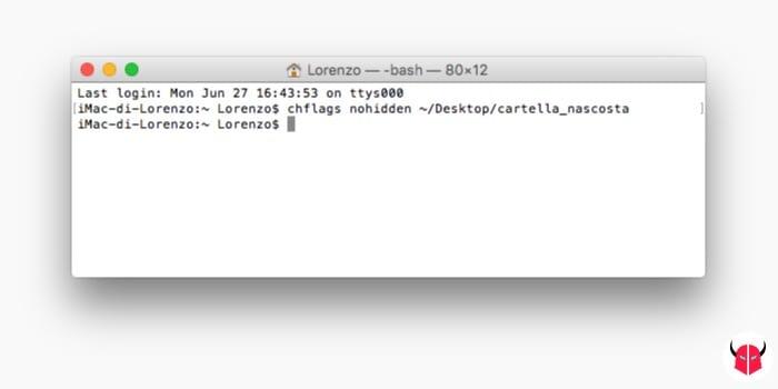 creare cartelle nascoste su Mac comando chflags nohidden