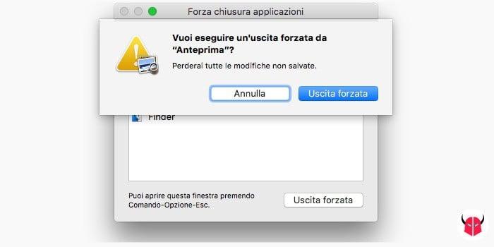 fare uscita forzata su Mac conferma chiusura applicazione