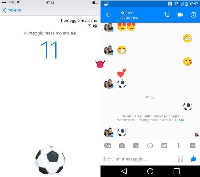 gioco calcio Messenger punteggio partita