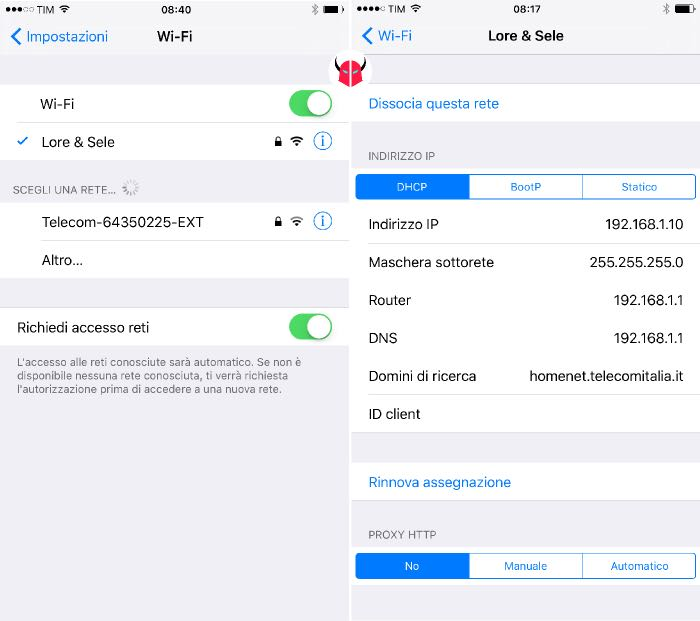 impostare IP statico su iPhone rete wireless DHCP