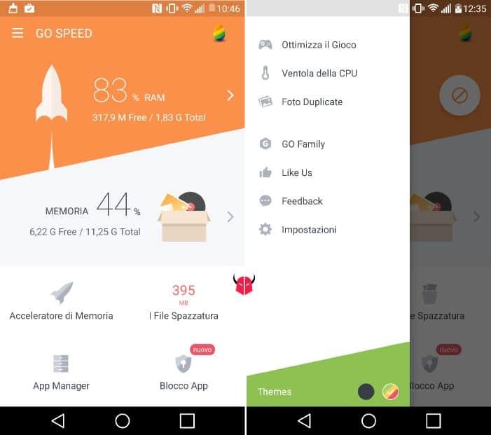 liberare memoria su Android Go Speed opzioni