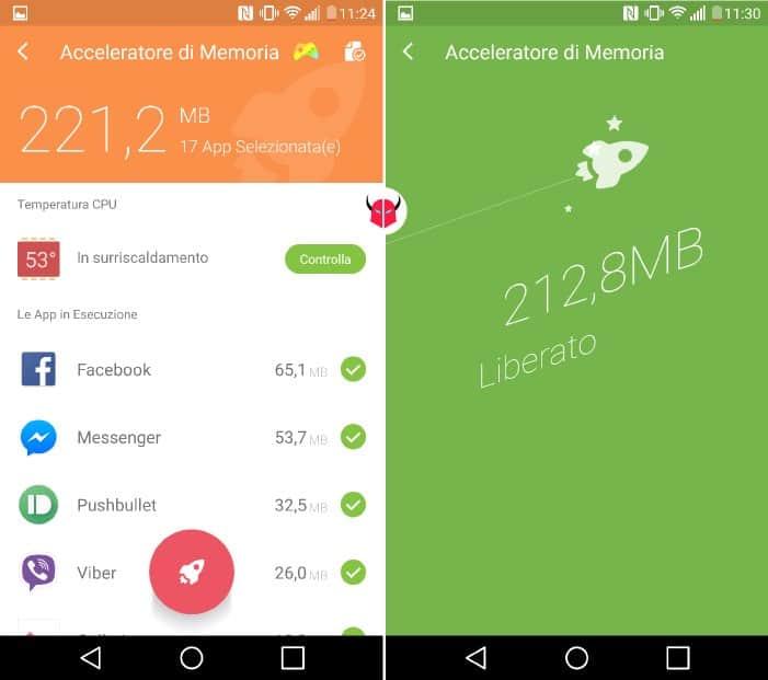 liberare memoria su Android Go Speed ottimizzazione RAM