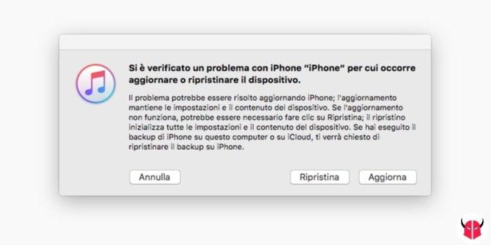 mettere iPhone in recovery mode opzioni Ripristina e Aggiorna di iTunes